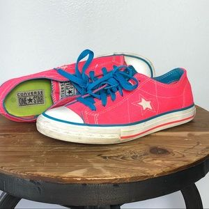 Converse One Star Neon Pink Lace Ups Size 7.5